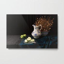 Green apples and china still life Metal Print