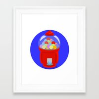 gumball Framed Art Prints featuring Gumball Machine by elledeegee