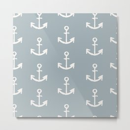 White anchors on blue background pattern Metal Print
