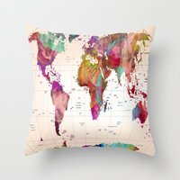 map Throw Pillows featuring MAP  by mark ashkenazi