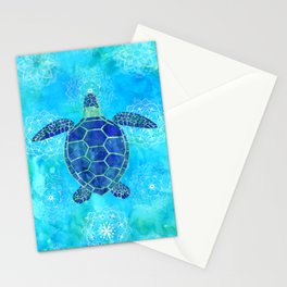 Watercolor Sea Turtles Mandalas Pattern Stationery Cards