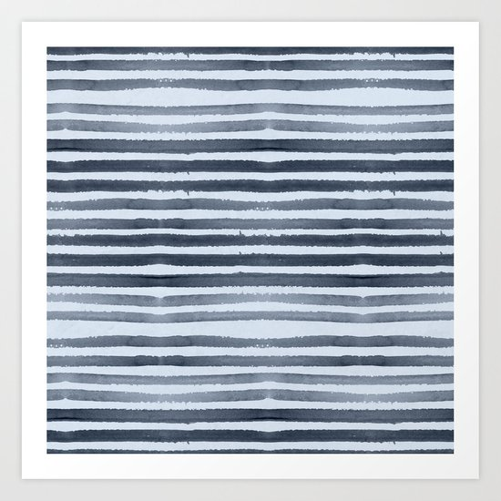 Simply Shibori Stripes Indigo Blue on Sky Blue Art Print