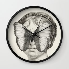 Girl with a Butterfly Wall Clock