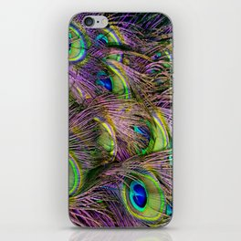 art nouveau bohemian turquoise purple teal green peacock feather iPhone Skin