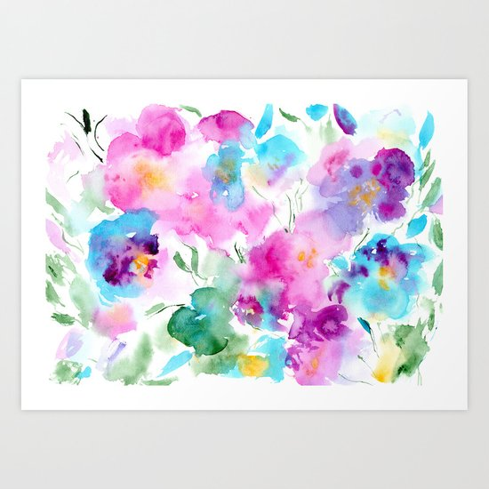 Floral abstraction #4 || watercolor Art Print