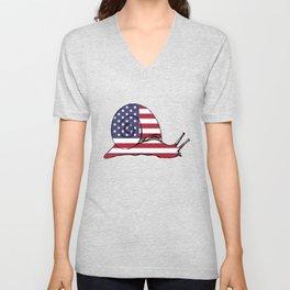 """Snail """"American Flag"""" Unisex V-Neck"""