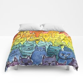 the pride cat rainbow  squad Comforters