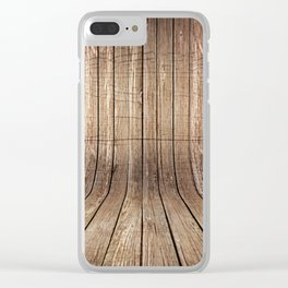 Realistic wood background Clear iPhone Case