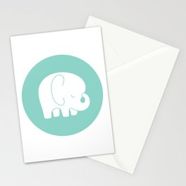 Mod Baby Elephant Teal Stationery Cards