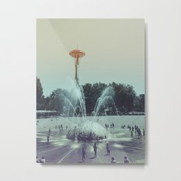 Seattle Space Needle and Fountain Metal Print