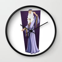 dumbledore Wall Clocks featuring Dumbledore by Zeynep Aktaş