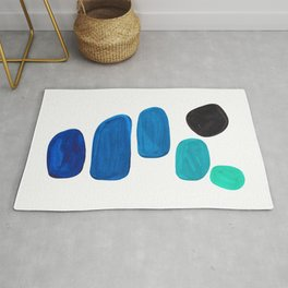 Colorful Mid Century Modern Pop Art Minimalist Style Teal Blue Aquamarine Bubbles White Background Rug