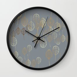 Golden Leaves - Gray Wall Clock
