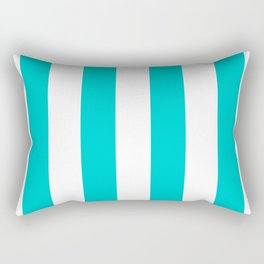 Vertical Stripes - White and Cyan Rectangular Pillow