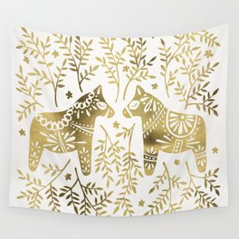 Swedish Dala Horses – Gold Palette Wall Tapestry