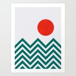 Sunset and Chevron II Art Print