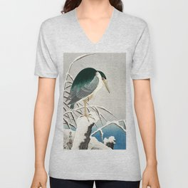 Heron in snow - Japanese vintage woodblock print art Unisex V-Neck