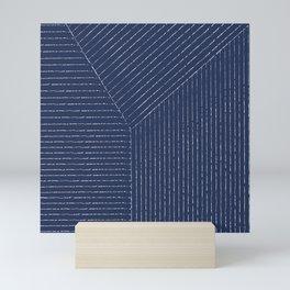 Lines / Navy Mini Art Print