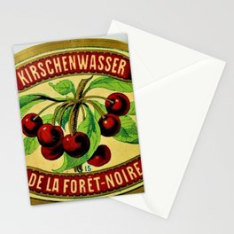 Vintage 1965 French Cherry Wine Bottle Label Kirchenwasser De La Foret-Noire Stationery Cards
