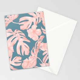 Tropical Palm Leaves and Hibiscus Pink Teal Blue Stationery Cards