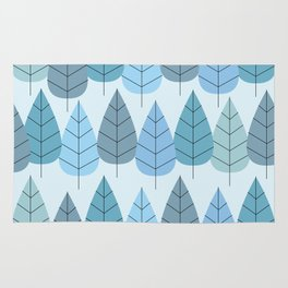 Mid century Trees in Blue Rug