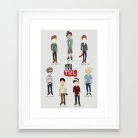 youtube Framed Art Prints featuring Youtube Boys  by Natasha Ramon