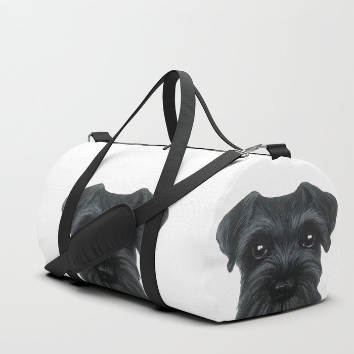 Black Schnauzer, Dog illustration original painting print Duffle Bag