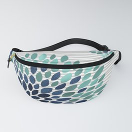 Blooms and Stripes, Aqua and Navy Fanny Pack