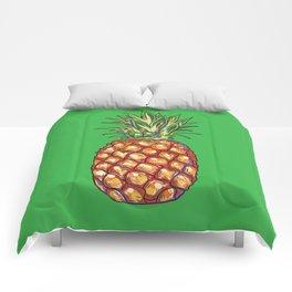 Pineapple, tropical, Hawaii Comforters