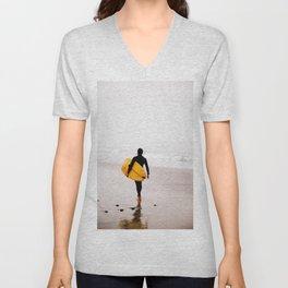 Yellow surf surfer Unisex V-Neck