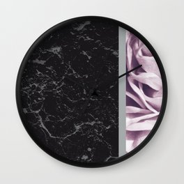 Light Purple Flower Meets Gray Black Marble #6 #decor #art #society6 Wall Clock