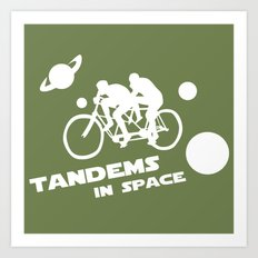 Tandems in Space in Green Art Print