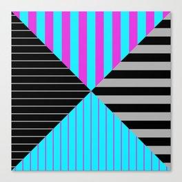 Stripes Quadrant - Purple, blue, black and grey stripes pattern Canvas Print