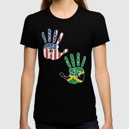 USA Jamaica Handprint & Flag   Proud Jamaican American Heritage, Biracial American Roots, Culture, T-shirt