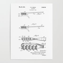 patent art Brown Toothbrush 1939 Poster