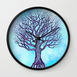 Tree of Life Blue Zen Design Wall Clock