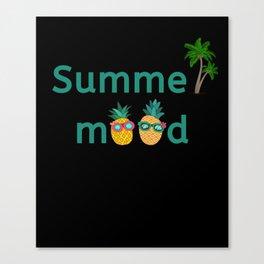 Summer Mood Pineapple Palm Trees Canvas Print