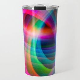 Spirograph rainbow light painting Travel Mug