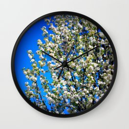 WhiteFlowerBleuSkies Wall Clock