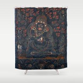 Mahakala Protector Tibetan Buddhist Thangka Shower Curtain