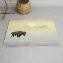 Bison in the snow Rug