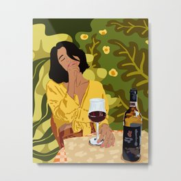 Wine is the answer. What was the question? Metal Print