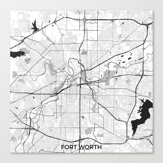 Fort Worth Map Gray Canvas Print