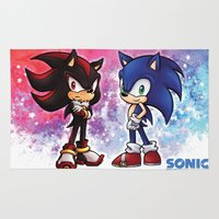 sonic Area & Throw Rugs featuring Sonic & Shadow by VayDemona