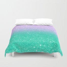Mermaid purple teal aqua FAUX glitter ombre gradient Duvet Cover