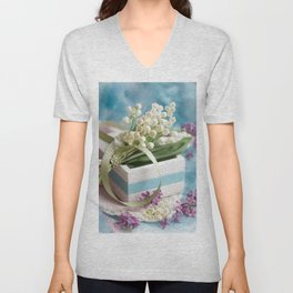 #Finally #spring #flower #bouqet with #lilac Unisex V-Neck