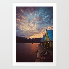 floating bungalows at sunset, chieow laan lake, khao sok national park, thailand Art Print