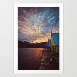floating bungalows at sunset, chieow laan lake, khao sok national park, thailand Art Print