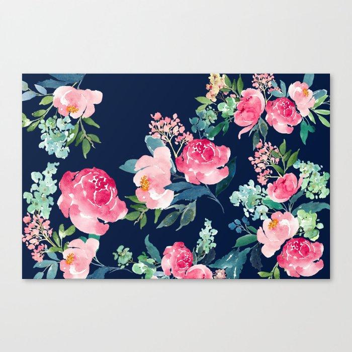 Navy and Pink Watercolor Peony Leinwanddruck