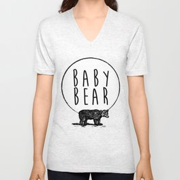 Baby Bear, Bear and Circle Moon Graphic Unisex V-Neck
